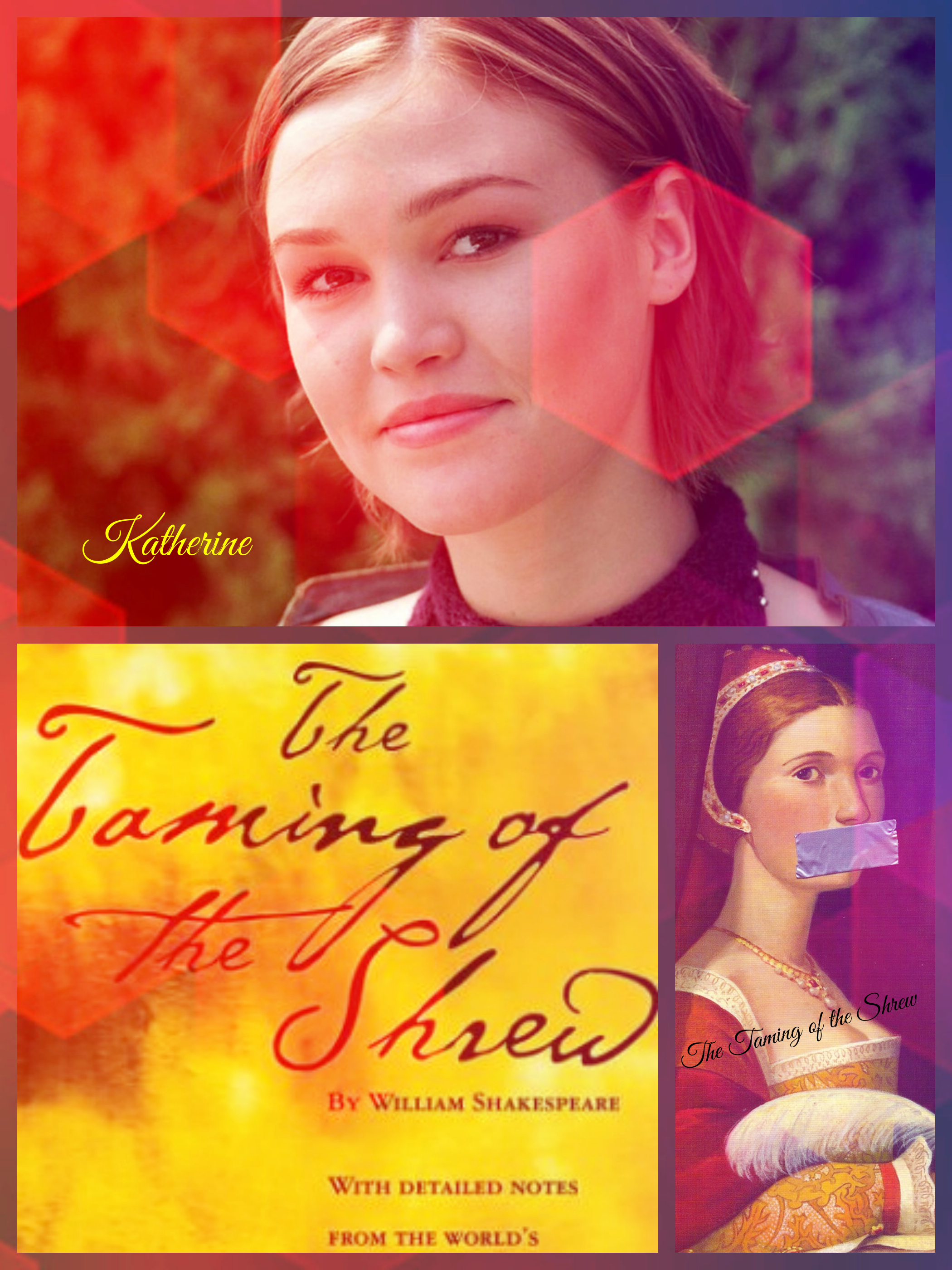 "an analysis of the character katherine in the taming of the shrew a play by william shakespeare William shakespeare was said to be born in 1564 in stratford avenue, england   -there is deception between characters (mistaken identities)  plot summary:   he then sits down to watch a play, which is the taming of the shrew  return  for the wedding banquet and katherine has become ""tamed."